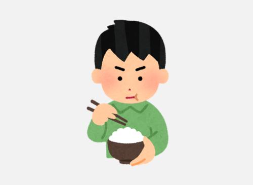 ご飯をたくさん食べている人のイラスト。